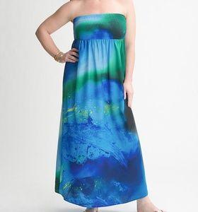 Lane Bryant Watercolor Strapless Maxi Dress